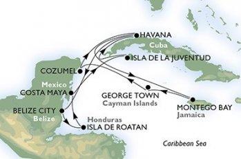 Routenplan MSC Opera ab Havanna Sommer 2017